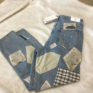 Zara women distressed patched customized jeans